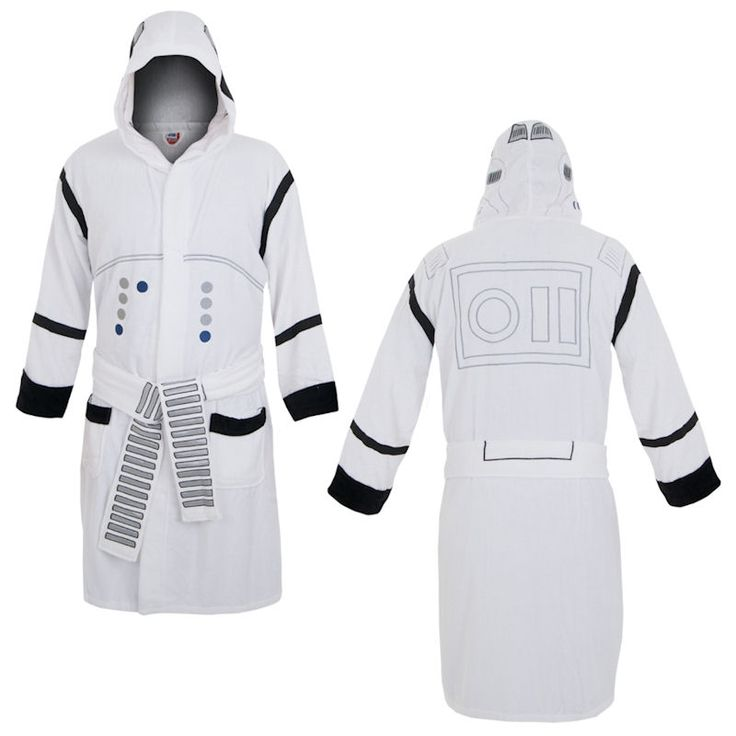 Star Wars Stormtrooper Hooded Robe You can be a Stormtrooper even when you're relaxing when you wear this Star Wars robe that mimics these cinematic soldiers' uniforms. The Star Wars Stormtrooper Hooded Robe is white with the black and gray patterns of the Stormtrooper's armor. This Stormtrooper robe is made of cotton terry cloth with satin panels for ultimate comfort!  OFFICIALLY LICENSED PRODUCT.  GRAB YOURS NOW!  ORDER 2 OR MORE TO SAVE ON SHIPPING COST.   Shop this product here…