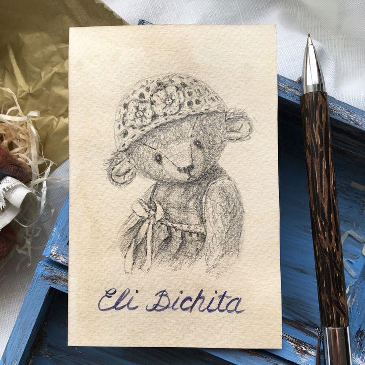 Pencil drawing sketch artist teddy bear by Eli Bichita рисунок карандашом авторский мишка тедди паспорт тедди