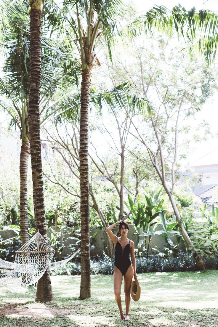 Lindy Klim wears Witchery Swim at home in Bali