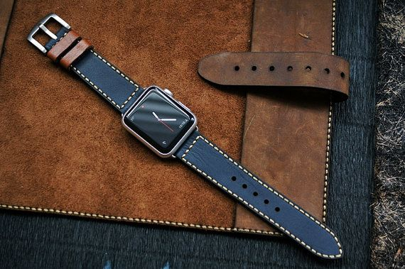 Custom Made Vintage Leather Strap incl. Lugs Adapter and Buckle for Apple Watch (or Apple Watch Sport) 42mm or 38mm BF04-D130 incl Buckle
