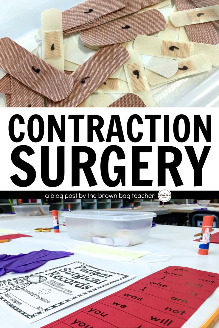 Contraction Surgery is a fast-paced, engaging review of contractions! Perfect for 1st and 2nd grade grammar practice. (The Brown Bag Teacher)