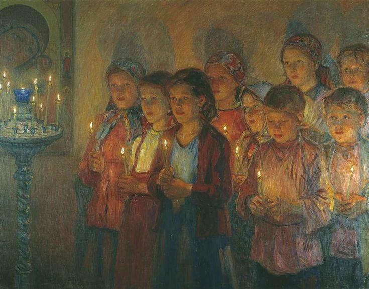 В церкви. 1939 Вариант. Рига - Богданов-Бельский Николай Петрович