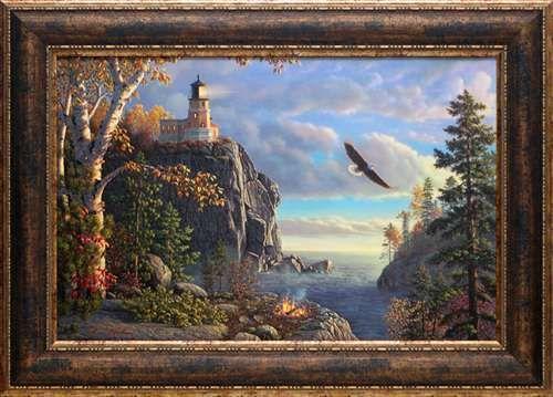 North American Art Guiding Light Fine Framed Lighthouse Lake Eagle Landscape Art Print