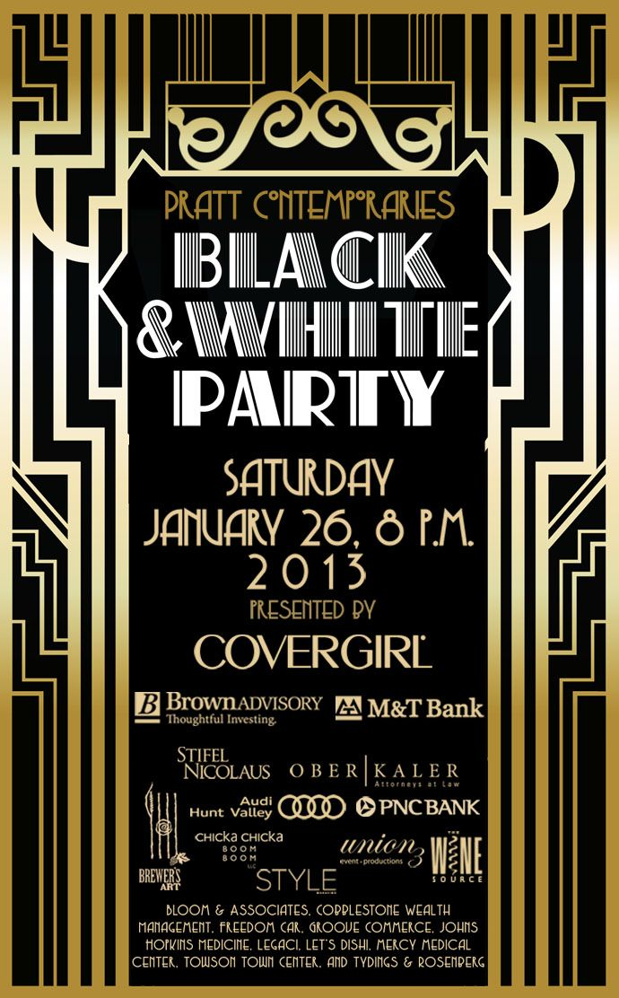 Black and White Party postcard- could be a cool idea for this year's poster