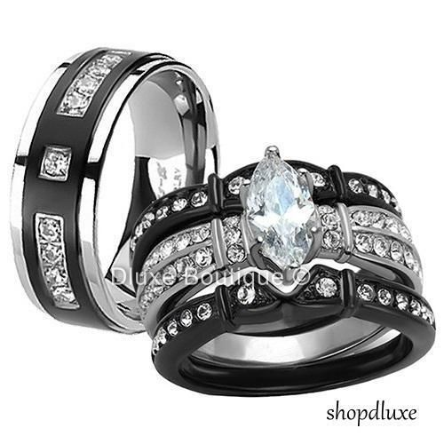 OUR WEDDING RINGS. BLACK & SILVER PLATINUM. KRISTY'S: 27 CARATS OF DIAMONDS JUDE'S: 13 CARATS OF DIAMONDS