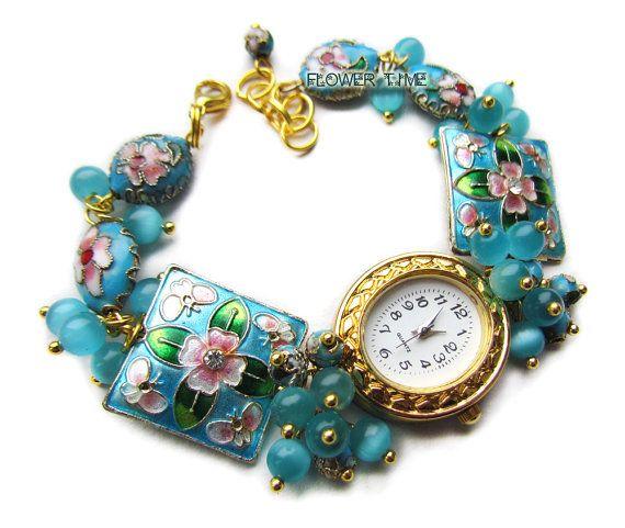 Blue wrist watch handmade ladies watch cloisonne by FlowerWatch
