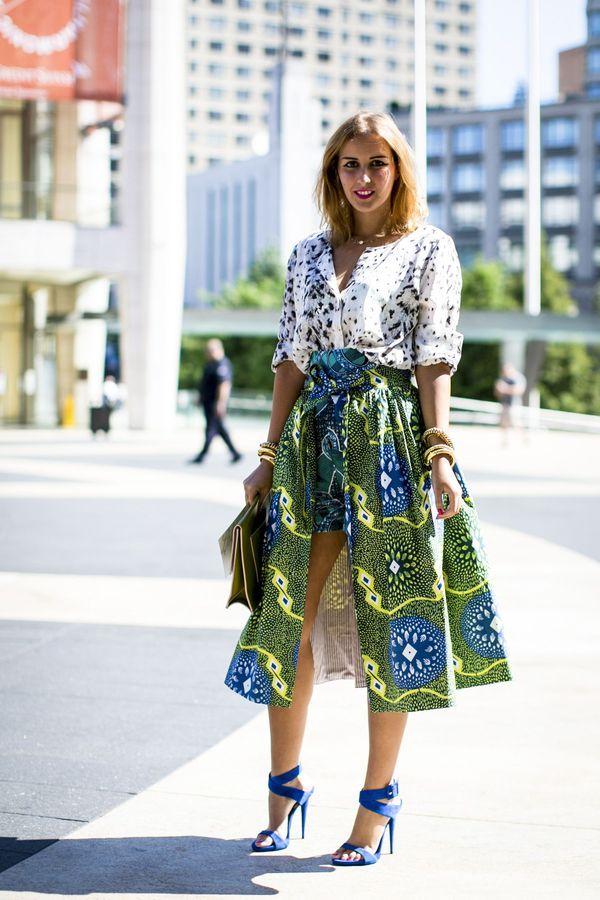 that's all a bit fabulous. #NYFW street fashion, african print skirt