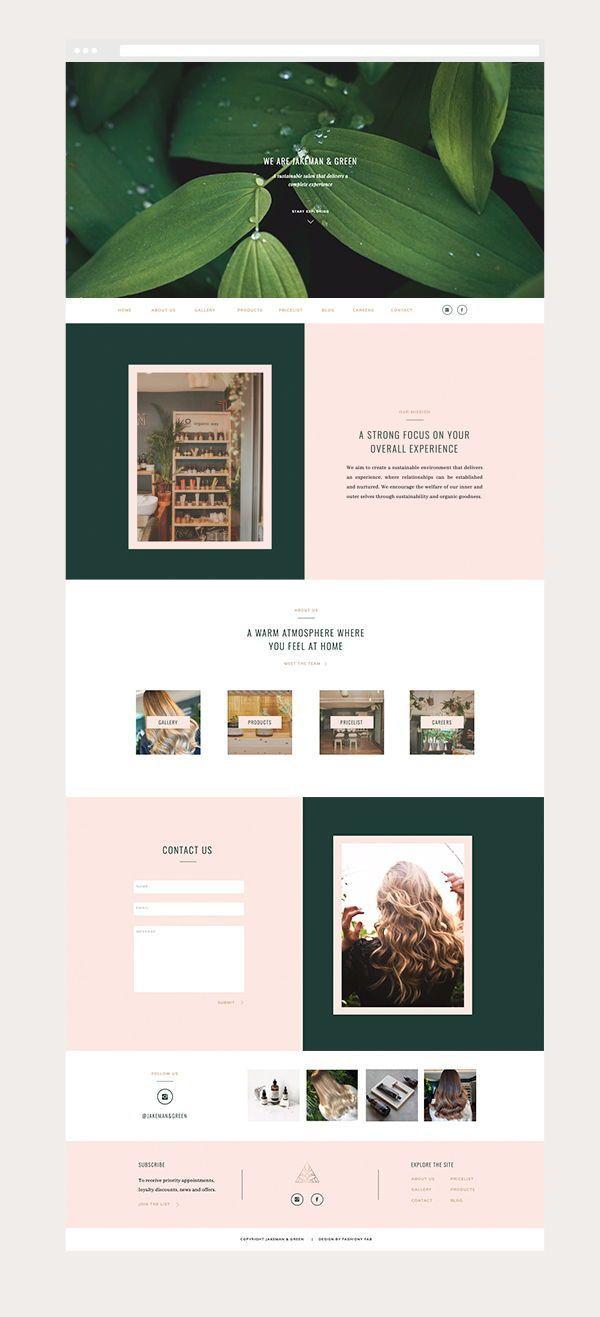 Web Design For Jakeman And Green Salon Graphic Design Branding Logo Design Instagram Te Creative Web Design Web Design Marketing Website Design Inspiration