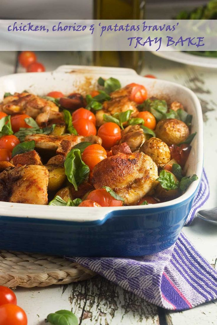 A delicious Spanish-inspired one-pot tray bake with chicken thighs, garlic, paprika, chorizo and potatoes.