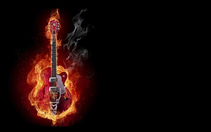 """Flaming Guitars Digital Art Hd Wallpaper: """"Flaming Guitar"""" #art #wallpaper"""
