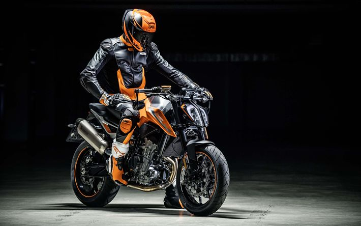 Download wallpapers KTM 790 Duke, rider, 4k, 2018 bikes, sportbikes, superbikes, KTM