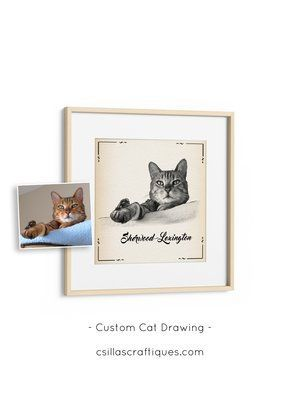 Custom Cat Lover Gift Idea Black And White Sketch On Vintage Paper Texture Perfect Birthday For A Owner Click Through To See More