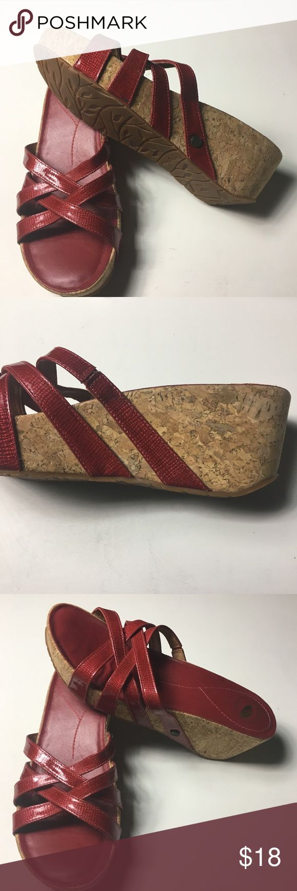"Nurture Red 8 M Leather Sandals New without box.  Very stylish leather uppers with faint snakeskin print.  Four straps cross cross the vamp and the heel height from 2 1/2 inches at the heel to 1/2"" at the toe level.  Nurture brand shoes are famous for comfort. nurture Shoes Sandals"