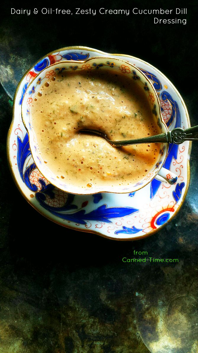 Dairy & Oil-Free, Zesty Creamy Cucumber Dill Dressing A zesty, dairy and oil-free salad dressing and vegetable dip that leaves your mouth wanting more. Slightly spicy, the flavors of fresh vegetables and raw tahini bring a creamy light dressing to your salad. Adjust the heat but be sure to leave in those dill, mustard backgrounds that give this sauce a kick.