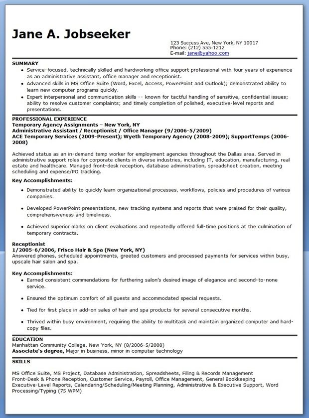 use this free temporary administrative assistant resume to help write your own professional resume and start getting better results from your job search - Sample Resumes For Receptionist Admin Positions