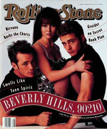 Luke Perry, Shannen Doherty & Jason Priestley. Rolling Stone Feb.1992