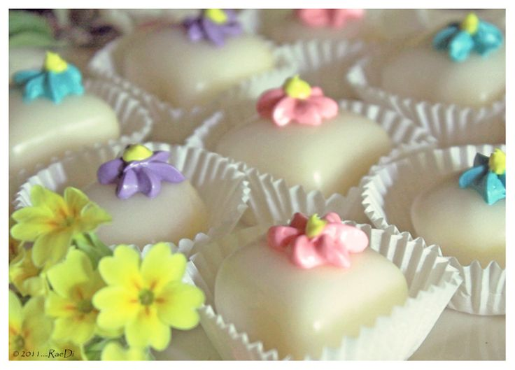 Easter Petit Fours Sara Lee Pound cake....Scratch Glaze recipe