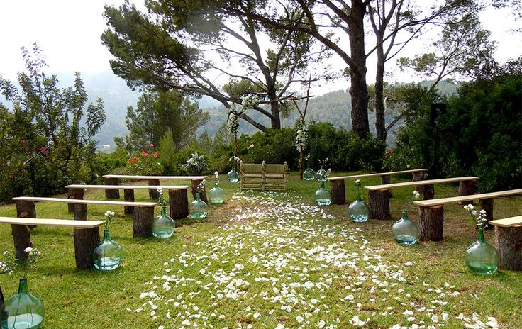 Trunk benches -wedding ceremony in solar town Mallorca