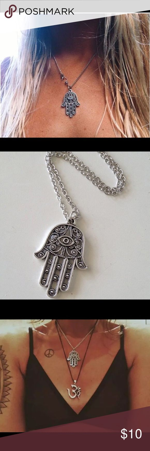 💕 Hamsa Hand Pendant Necklace Lucky Fatima Hand pendant necklace  A perfect accessory * Good Luck Protection Hamsa Symbol Fatima Hand Evil Eye Pendant Chain Necklace  Material: Alloy Jewelry Necklaces