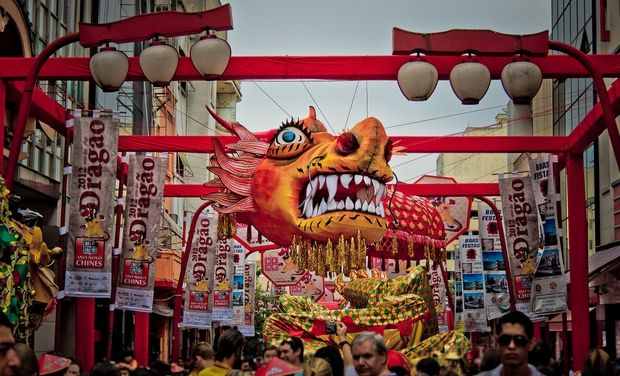 Festival das Flores comemora o nascimento de Buda no Bairro Liberdade em São Paulo;