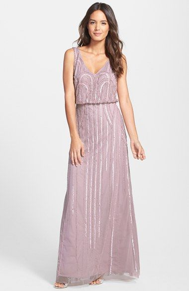 Adrianna Papell Beaded Mesh Blouson Gown available at #Nordstrom