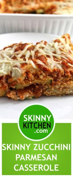 Skinny Zucchini Parmesan. If you love Eggplant Parmesan, you'll love this! Each slice has 239 calories, 5g fat & 7 Freestyle SmartPoints. #zucchini #casserole https://www.skinnykitchen.com/recipes/skinny-zucchini-parmesan/