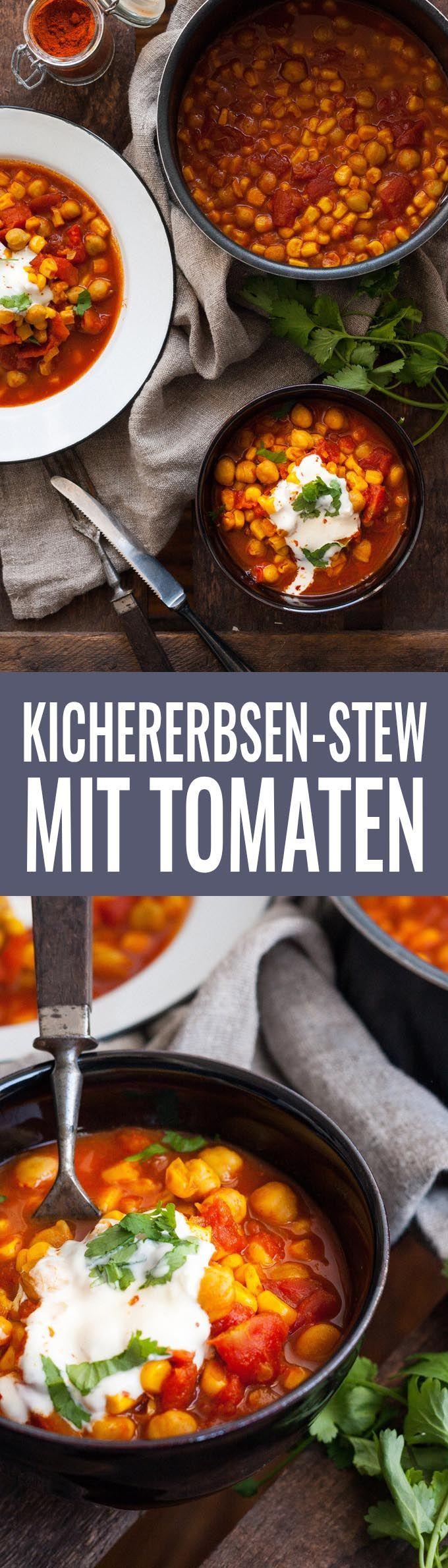 Kichererbsen-Stew mit Tomaten und Mais - Kochkarussell.com (Vegan Bbq Rezepte)