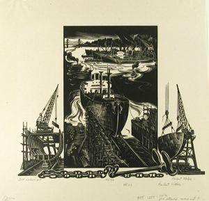 Ship Launching, Herbert Waters, 1955, wood engraving, 9 7/16 in. x 9 3/4 in. Currier Museum of Art.