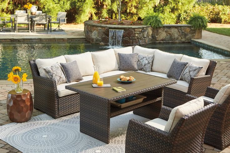 Patio Furniture Layout Sectional, Patio Furniture 3 Piece Sectional Sofa Resin Wicker Beige