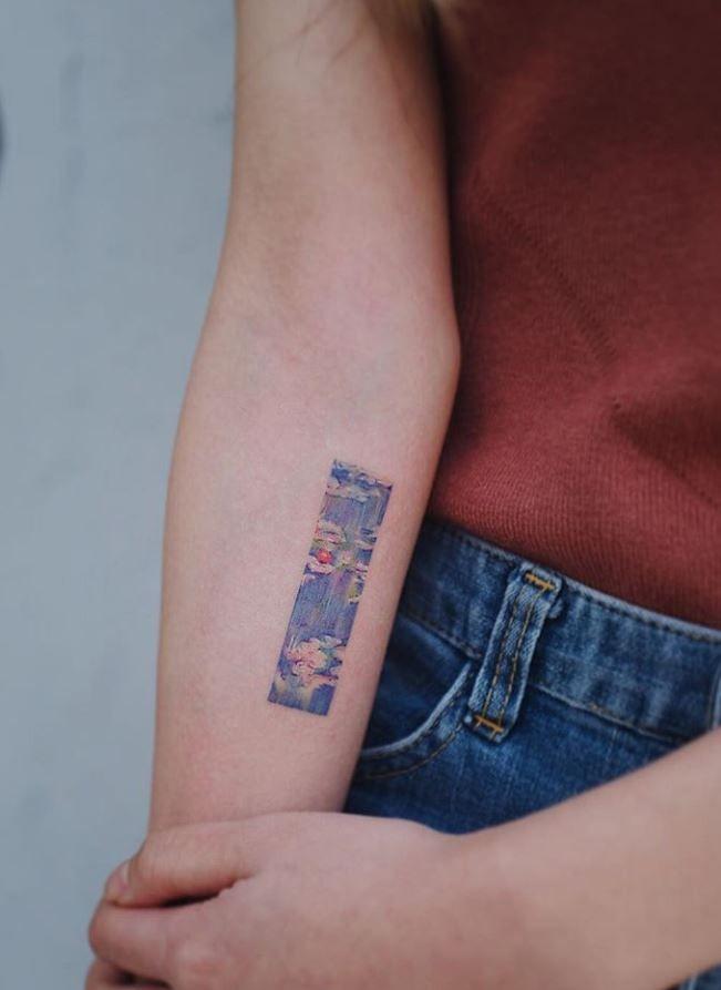 Claude Monet S Painting Tattoo Beautiful Tattoos For Women Cool Small Tattoos Painting Tattoo