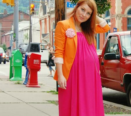 baby shower outfit ideas neon and orange maternity maxi dress and blazer