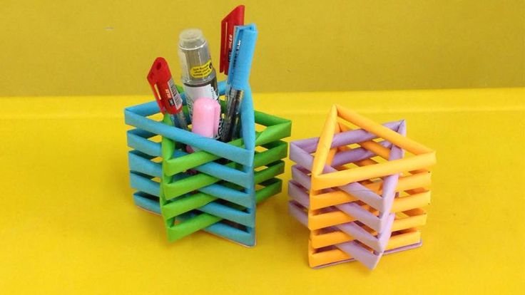 How to make a paper pencil holder | Easy origami pen holders for beginne...
