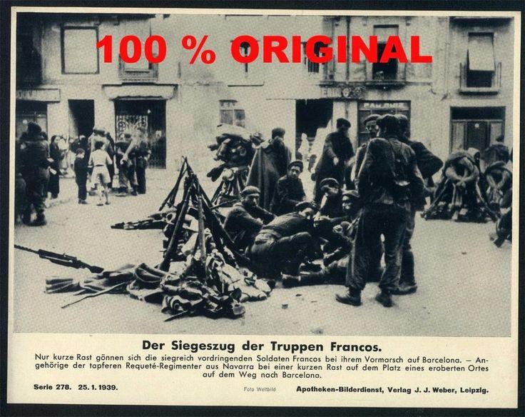 orig WK2 PRESSE FOTO - PRESSEBILD 1939 - BÜRGERKRIEG SPANIEN - FRANCO SOLDATEN