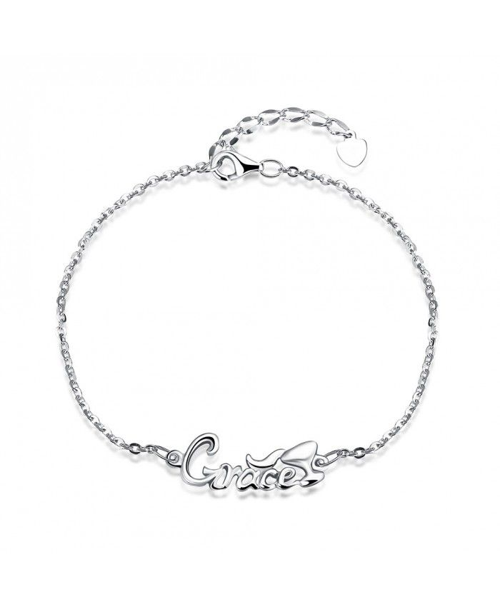 A Slender 925 Sterling Silver Small Chain Link Bracelets with the word Grace