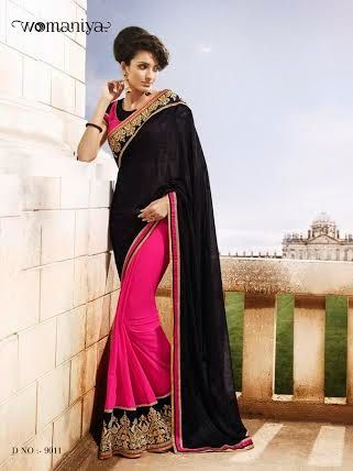 Beautifully designed Pink and Black Georgette saree with heavy embroidery work en-crafted all over. Comes along with Contrast matching Pink Blouse.
