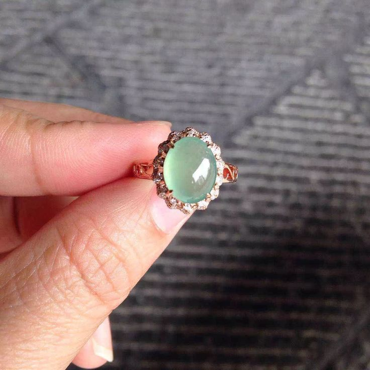 Perfect 18K rose gold icy light green jade filigree band engagement ring ~ 1.5K