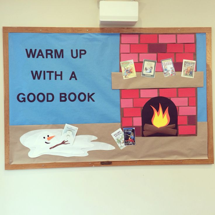 """Winter bulletin board for the Pickens county library. """"Warm up with a good book"""""""