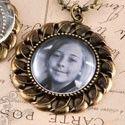Vintage Bronze Flower Pendant Cabochon Setting, Glass Dome and Vintage Necklace Set