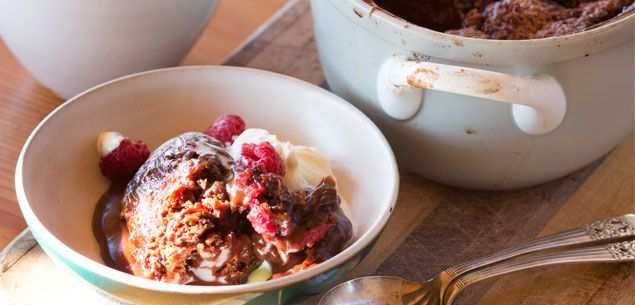 Chocolate and raspberry self-saucing pudding - New Zealand Womans Weekly