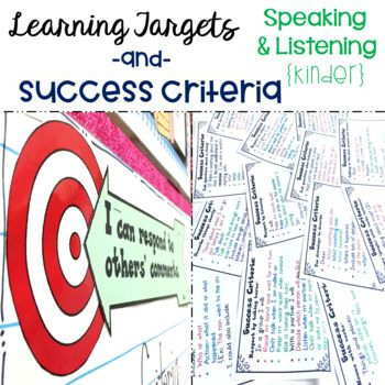 These Kindergarten printable Common Core State Standard aligned learning targets and success criteria are an efficient and effective visual to help your students meet their daily learning objectives. Targets are written in kid friendly language using 'I can' statements and the success criteria is the tool that will help your students understand and successfully complete the exact steps needed to meet those learning targets. Click the link to see the LT & SC for other grades, too!
