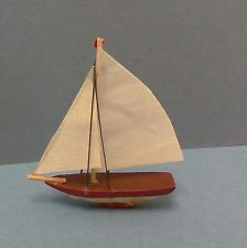 Dollhouse miniature 1:12 scale model sail boat - racing sloop/ for shelf, mantle