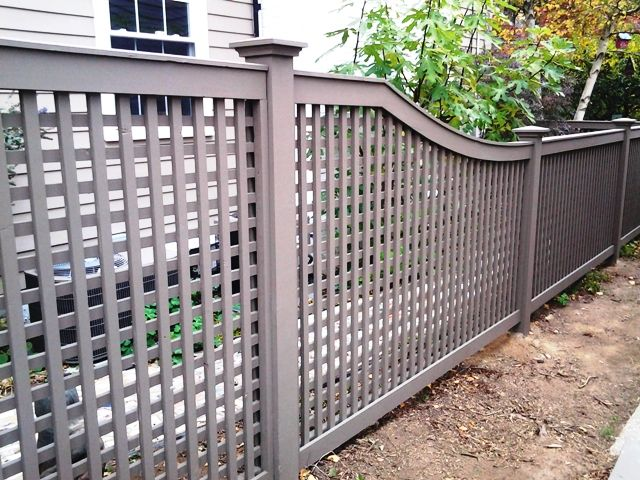 Grey Wood Lattice Fencing Wood Fence Concrete Fence