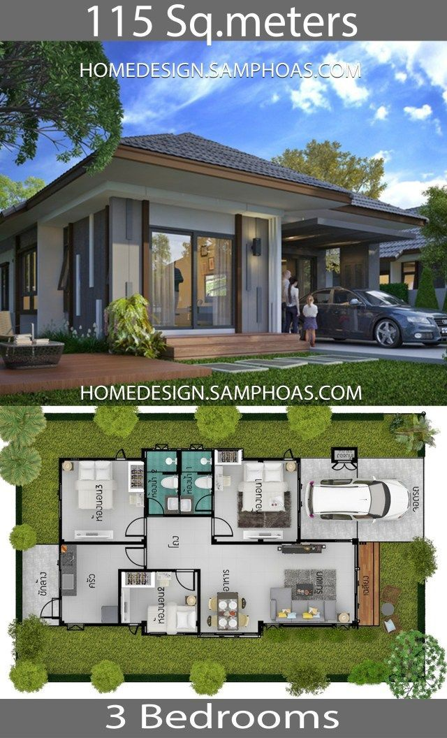 115 Sqm 3 Bedrooms Home Design Idea Home Ideassearch Homedecorideas Kitchen Bedroom Liv House Floor Design Modern Small House Design Bungalow House Plans