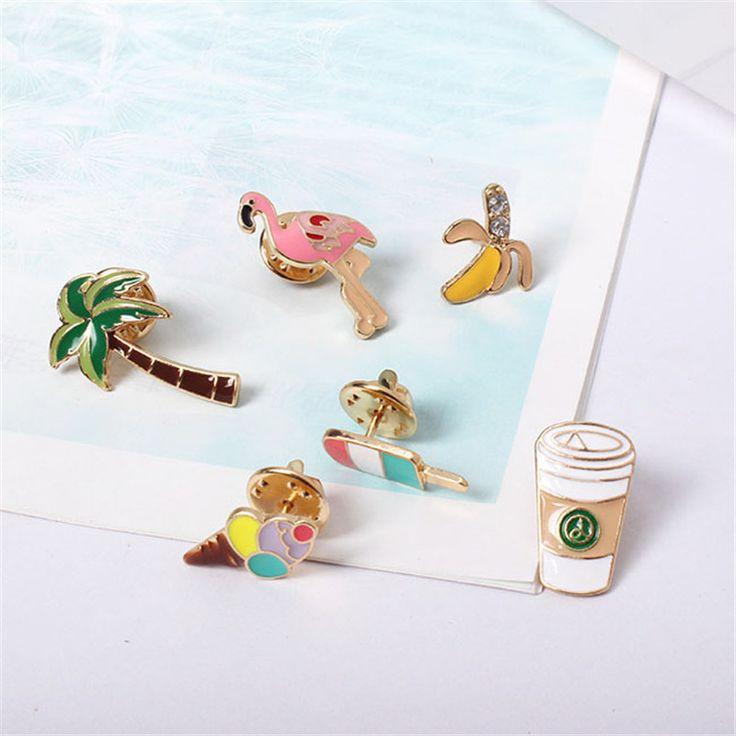 Бесплатная Доставка Летние любовные чувства Кокосовых пальм фламинго чашки кофе весело pin значки брошь pin подкруткой аксессуары pin pinкупить в магазине XQ S-E-E StoreнаAliExpress