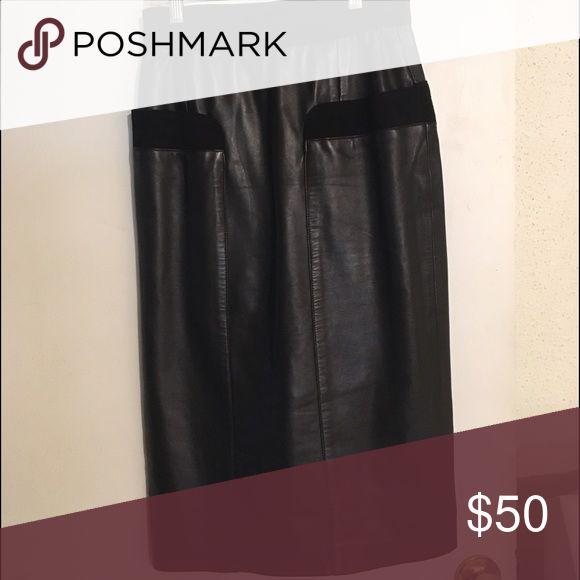 Black Leather pencil skirt Black Leather pencil skirt. Says size 6 but I feel like it runs small. Like a 4 Sena Nyc Skirts Pencil