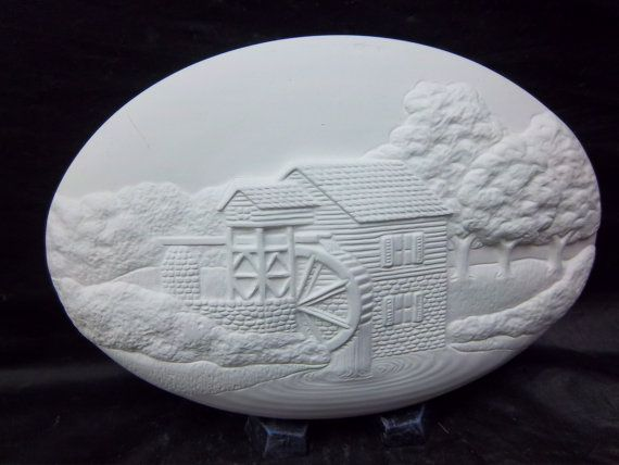 Autumn grist mill insert u paint ceramic bisque by yellowstonepath