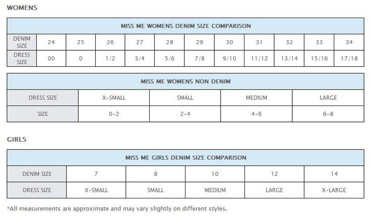 Miss Me Jean Conversion Size Chart Fashion In 2019 Jeans Style