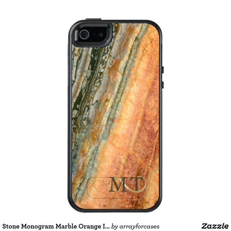 Stone Monogram Marble Orange OtterBox iPhone 5/5s/SE Case Enhance your electonics with this cool stone look. This design features a warm print of orange, cream and green marble for a sleek, luxurious effect. Your initials are entwined with an elegant gold swash to personalise. Search ID332 to see other products with this design. Some occupations this card would be suitable for are: