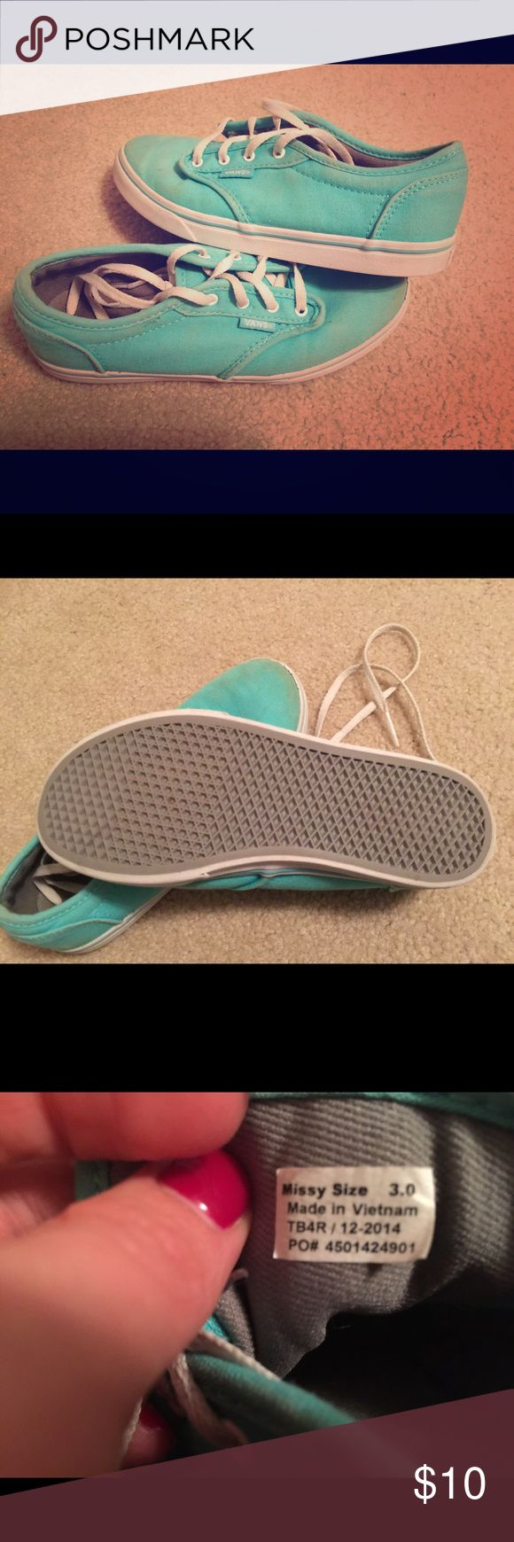 Kids Van Shoes. Good condition. Size 3. Girls sized 3 teal Vans. Vans Shoes Athletic Shoes