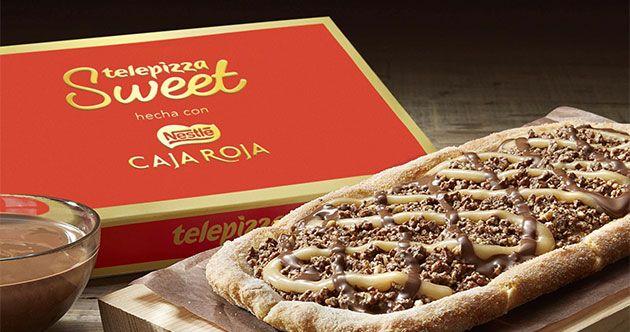 Con el Día de San Valentín próximo, Nestlé y Telepizza, como resultado de un trabajo de cobranding, han creado Telepizza Sweet hecha con Caja Roja, postre hecho con la masa de Telepizza, estirada a mano, cubierta con una capa de chocolate crujiente, un toque de crema de cacahuete y chocolate Nestlé Caja Roja